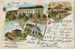 Gruss Souvenir De Dornach Salle De Billard Gare Train Bureau Postes Brasserie Mutzig Brauerei Timbrée 1900 - Other Municipalities