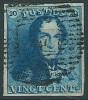 N�2, 20c bleu grandes marges P4 Anvers. Superbe sign� W Balasse