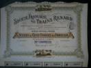 """Lot  2 Sté Trains Renard """"AUTOMOBILE""""  2 Actions 100 FR + Coupons - Shareholdings"""