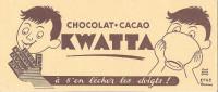 BUVARD CHOCOLAT CACAO KWATTA A S´EN LECHER LES DOIGTS SIGNE HERVE MORVAN - Cocoa & Chocolat