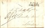 """LAC DE DIEPPE A LONDRES  DU 16/06/1824 - CACHET """"P.74.P  DIEPPE""""   """" INDICE 9 """" - 1801-1848: Precursori XIX"""