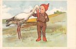 Illustrateur Non Signé - Fantaisie - Enfant - Cigogne (précurseur) - 1900-1949