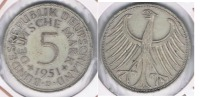 ALEMANIA 5 DEUTSCHE MARK  1951 D PLATA SILVER R - [ 7] 1949-… : RFA - Rep. Fed. Alemana