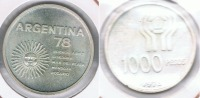 ARGENTINA 1000 PESOS 1978 PLATA SILVER R - Argentina