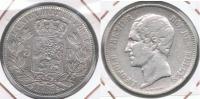 BELGICA 5 FRANCS 1853 PLATA SILVER R - Bélgica