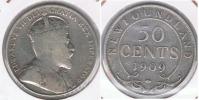 CANADA NEW FOUNDLAND 50 CENTS 1909 PLATA SILVER R - Canada
