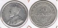 CANADA NEW FOUNDLAND 50 CENTS 1911 PLATA SILVER R - Canada