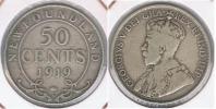 CANADA NEW FOUNDLAND 50 CENTS 1919 PLATA SILVER R - Canada