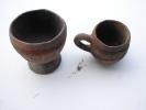 Lot. 421. Deux Petits Pots En Terre Cuite Réalisée Au Colombin Dans La Région D'Edéa Au Cameroun. - Art Africain