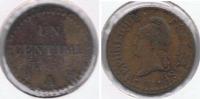 FRANCIA FRANCE 1 CENTIME FRANC A AN 6  R - 1789 – 1795 Monedas Constitucionales
