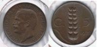 ITALIA  5 CENTIMI LIRA 1922 R - 1861-1946 : Reino