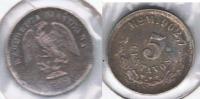 MEXICO 5 CENTAVOS PESO 1904 PLATA SILVER R - México