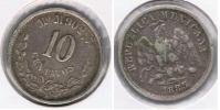 MEXICO 10 CENTAVOS PESO 1885 PLATA SILVER R - México