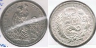 PERU SOL 1895 PLATA SILVER R - Perú