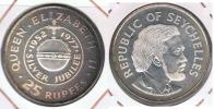 SEYCHELLES 25 RUPIAS RUPEES 1977 PLATA SILVER R - Seychelles