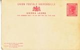 SIERRA  LEONE   POSTAL  ANSWER -  REPLY  CARD  * - Sierra Leone (...-1960)