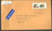 """Canada - 2 Timbres Pommier """"delicious"""" + Pêcher ...  - Lettre Envoyée Par Avion De Valleyfield Vers Saive  (Belgique) - Covers & Documents"""