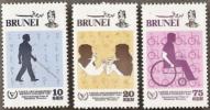 Brunei,  Scott 2016 # 273-275,  Issued 1981,  Set Of 3,  MNH,  Cat $ 6.15, Disabled - Brunei (1984-...)