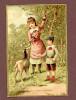 St Denis De La Réunion, Maison Dubois, Jolie Chromo Dorée, Fillette Et Garçonnet, Chèvre, Tiens Gourmande - Chromos