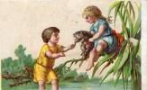 Deux Chromos. Enfant Papillon.abeille.chat. Rosier.branche.Anthropomorphisme. - Chromos