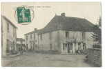 """VAUBAN (Saône Et Loire) Place Vers L'Église - Animée - """"Café Du Nord"""" - """"Café Du Centre"""" - France"""