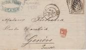 FRANCE 1875 LETTRE DE REIMS POUR GENEVE - Postmark Collection (Covers)