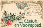 Postkaart / Post Card / Romantique / Romantic / Bas Reliëf / RELIEF / 1906 / Geluk En Voorspoed / Swallow / Hirondelle - Saint-Valentin