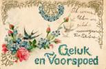 Postkaart / Post Card / Romantique / Romantic / Bas Reliëf / RELIEF / 1908 / Geluk En Voorspoed / Swallow / Hirondelle - Saint-Valentin