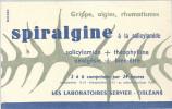 BUVARD ORLEANS  LES LABORATOIRES SERVIER   SPIRALGINE  Grippe, Algies, Rhumatismes ............. - Produits Pharmaceutiques