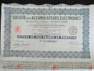 Action 100 Francs Societe Des Accumulateurs Electriques Anciens Etablissements Alfred Dinin Siege Social Nanterre 1929 - Industrie