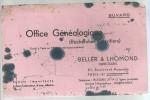 BUVARD PARIS  BELLER & LHOMOND   OFFICE GENEALOGIQUE  ( Recherche D'Heritiers) ....  .... - Banque & Assurance