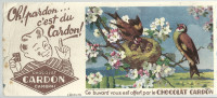 BUVARD  CAMBRAI   Chocolat CARDON   Oh Pardon ... C'est Du CARDON  Nid D'oiseaux - Chocolat