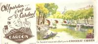 BUVARD  CAMBRAI   Chocolat CARDON   Oh Pardon ... C'est Du CARDON    Lac Avec Barques  15 - Chocolat