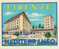 FIRENZE - GRAND HOTEL MEDITERRANEO ,  Old HOTEL LUGGAGE LABEL ETIQUETTE ETICHETTA BAGAGE - Hotel Labels