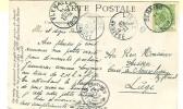 SERAING 11 JUIN 1909 + LIEGE ARRIVEE + LIEGE DEPART + FLEMALLE      4 Cachets !!! - 1893-1900 Schmaler Bart