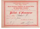 Billet D'honneur De L'école Primaire Publique De Jeunes Filles De Saint Maur (Val De Marne) - Diplômes & Bulletins Scolaires