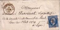 AIN - PONT DE VAUX - LE 21-2-1859 - EMPIRE N°14 OBLITERATION PC2506. - Storia Postale