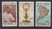 VATICANO   1968 VISITA DI PAOLO VI A BOGOTA' SASS. 461-463 MNH XF - Nuovi