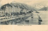 SWITZERLAND - MONTREUX - GRAND HOTEL EDEN - HOTEL, COUNTRYSIDE & BOATS - PM 1909 - VINTAGE ORIGINAL POSTCARD - VD Vaud