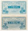 LIMOGE // UNION De LIMOGE // 1 Francs X 2 Avec Signature - Bons & Nécessité