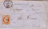 ISERE - GRENOBLE - 7-10-1854 - EMPIRE N°16 OBLITERATION PC1452 - LETTRE POUR VOIRON. - Marcophilie (Lettres)
