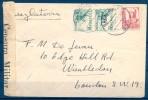 1937 , GUERRA CIVIL , SALAMANCA , SOBRE CIRCULADO A LONDRES , BANDA DE CENSURA MILITAR , HELLER S 7.7 - 1931-50 Cartas
