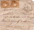 EMISSION DE BORDEAUX - 10c N°43 X 2 SUR LETTRE INCOMPLETE - CACHET CONVOYEUR STATION CLERMONT DE L'HERAULT - FORTE COTE - Postmark Collection (Covers)