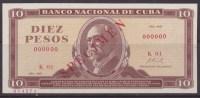 1967-BK-4 CUBA 1967 10$ MAXIMO GOMEZ SPECIMEN  UNC. - Cuba