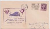 PORTLAND OREGON TO OMAHA NEBRASKA - 30TH ANNUAL ROSE FESTIVAL 1938 - FLORAL PAGEANT - PLANE - AVION - 3 CENTS WASHINGTON - Enveloppes évenementielles