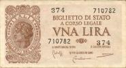 1 LIRA  ITALIA  LAUREATA - Biglietti Di Stato Luogotenenza -  D.M. 23.11.1944 - Firme: Bolaffi - Cavallaro - Giovinco. - [ 1] …-1946 : Kingdom