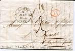 HERAULT De LODEVE LAC Du 08/06/1834 Avec Cachet T 12+ Verso Cachet T 13 Bleu ST HIPPOLYTE DU FORT - Marcophilie (Lettres)