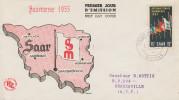 Enveloppe  1er  Jour  SARRE  3éme    Foire  Internationale   SAARBRÜCKEN    1955 - FDC