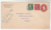 1914 NY USA  UPRATED Postal STATIONERY Via SHIP SS HELLIG OLAF Via KRISTIANSAND NORWAY To GERMANY Liner  Stamps Cover - Entiers Postaux