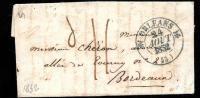 Lac , Cad Simple Fleuron Orléans Aout 1832 En Bleu Pour Bordeaux , Arrivée Au Dos - Ah9802 - Marcophilie (Lettres)